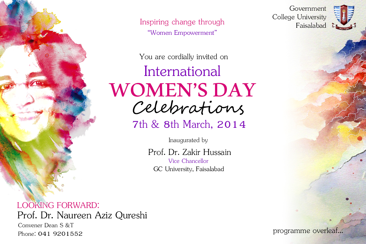 Invitation and program for international women s day gcuf