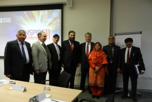 Dr. Farhat Jabeen along with Dr Mukhtar Ahmad, Executive Director, Higher Education Commission of Pakistan, Muhammad Baligh-ur-Rehman  Minister of State for Education, Trainings, and Standards in Higher Education, Dr. Abdul Shakoor Chaudhry Newcastle University, Prof. Dr. Sharif Mughal, Prof. Dr. S. Akram Shah and Khalid Amin Chancellor Indus University.