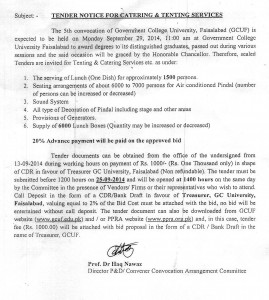 2014-09-11 5th Convocation Catering Tender