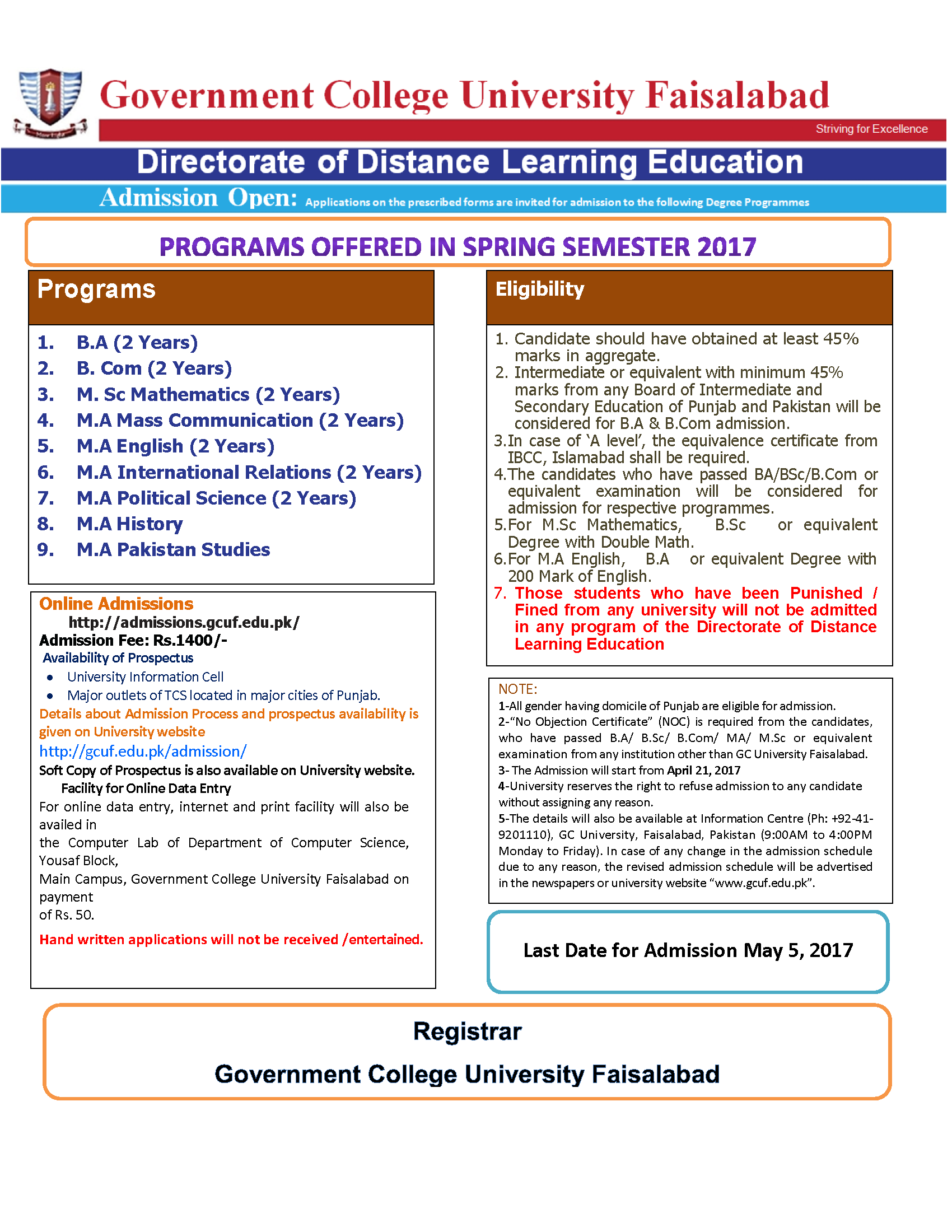 Admission Open Directorate of Distance Learning Education