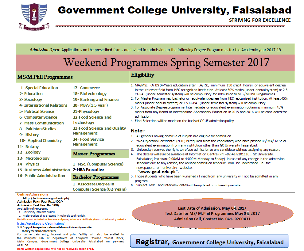 Admission Open in Weekend Program in Spring Semester 2017