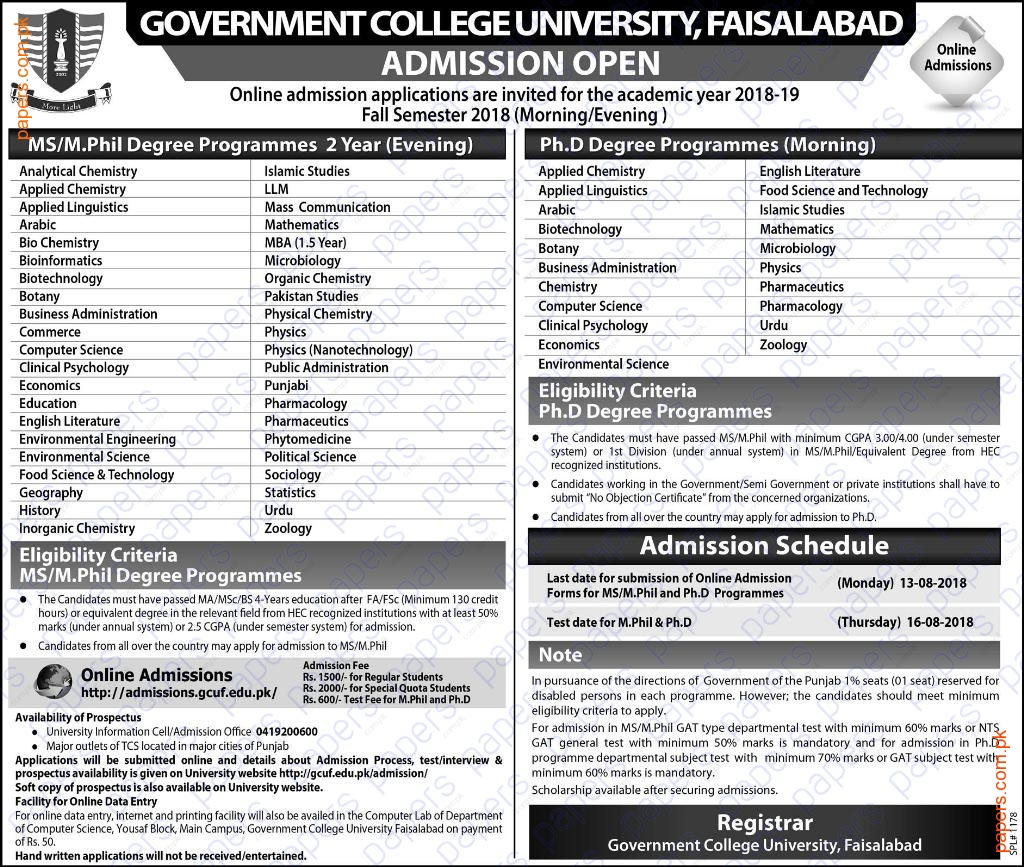 For Admission Queries Only Regular Student Please Contact 041 9200600 Admissioncellgcufedupk