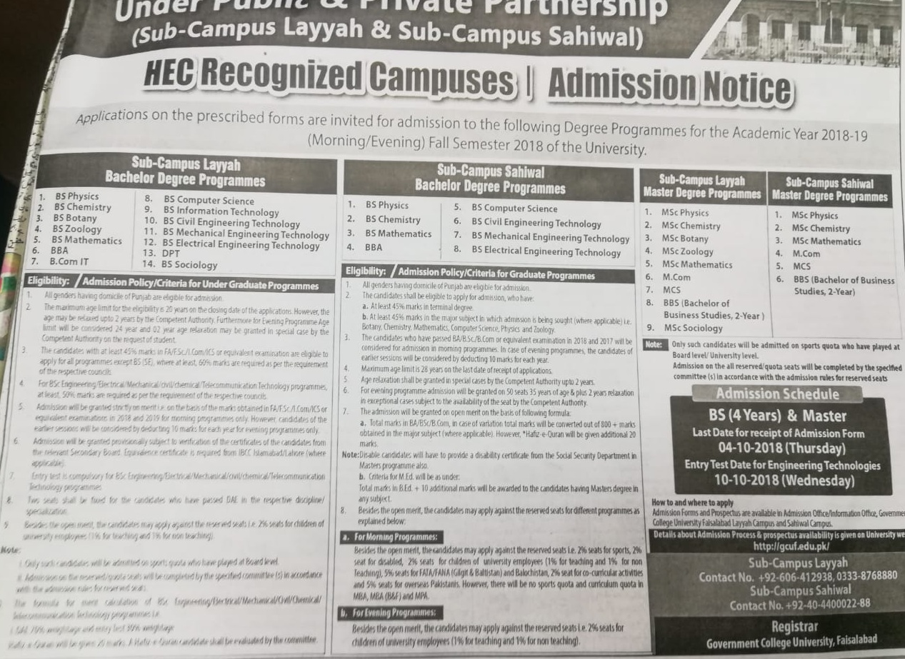 Government College University Faisalabad GCUF Admissions 2019 Last Date